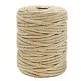 Tenn Well 3.5mm 麻紐, 50m 編み麻ロープ 園芸 梱包 手芸 壁掛け キャットタワーなどに (茶色)