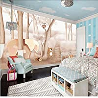 Lcymt 子供部屋の壁紙壁紙漫画の動物の森の絵写真の壁紙壁画の3D寝室の自己接着ビニール/シルクの壁紙-150X120Cm