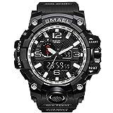 腕時計 メンズ SMAEL腕時計 メンズウォッチ 防水 スポーツウォッチ アナログ表示 デジタル クオーツ腕時計  多機能 ミリタリー ライト時計 運動腕時計 (シルバー)