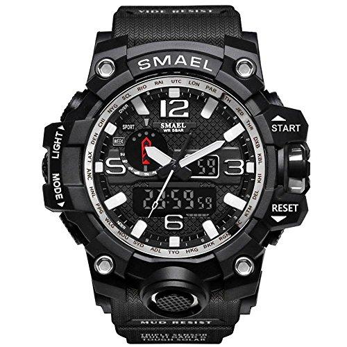 [해외]시계 남성 SMAEL 시계 남성 시계 방수 스포츠 시계 아날로그 표시 디지털 쿼츠 시계 다기능 밀리터리 라이트 시계 운동 시계/Watches Men`s SMAEL Wrist Watches Men`s Watches Waterproof Sports Watch Analog Display Digital Quartz Wrist Watche...