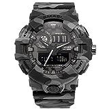 メンズアナログクォーツスポーツウォッチ迷彩デジタルWrist Watches with LEDバックライトMilitary Watch Camouflage gray