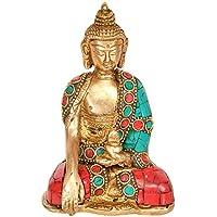 Lord Buddha in Bhumisparsha Mudra – 真鍮Statue with Inlay