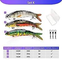 XUBAOFU, 5ピース14センチ23グラムシンキングワブラー釣りルアーセット8セグメントクランクベイトハード人工餌キットスイムベイトパイク釣りルアー (色 : Set K)