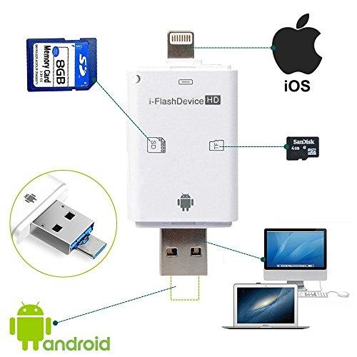 携帯用カードリーダー SD/TF/type c対応 iOS・Android・PC用 写真/ビデオ/音楽転送 microusbカードリーダー