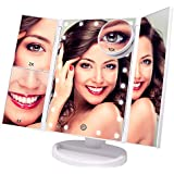 Lighted Makeup Mirror - with 10X 3X 2X Magnifying Mirror, Tri-Fold Mirror with 21 LED Lights, Touch Screen Switch, 180° Adjustable Stand, Dual Power Supply, Tabletop Cosmetic Vanity Mirror