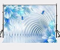 lylycty 7x 5ftブルー花バックドロップDancing Glittering plollen Flying Butterflies写真背景lyhui023