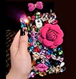 Galaxy S8 Plus Princess Perfume Bottle ケース, Charming 3D Handmade Shiny Crystal Diamonds Beautiful Flower Bowknot カバー, TAITOU Luxury Phone Coque For Samsung Galaxy S8Plus Red Flower