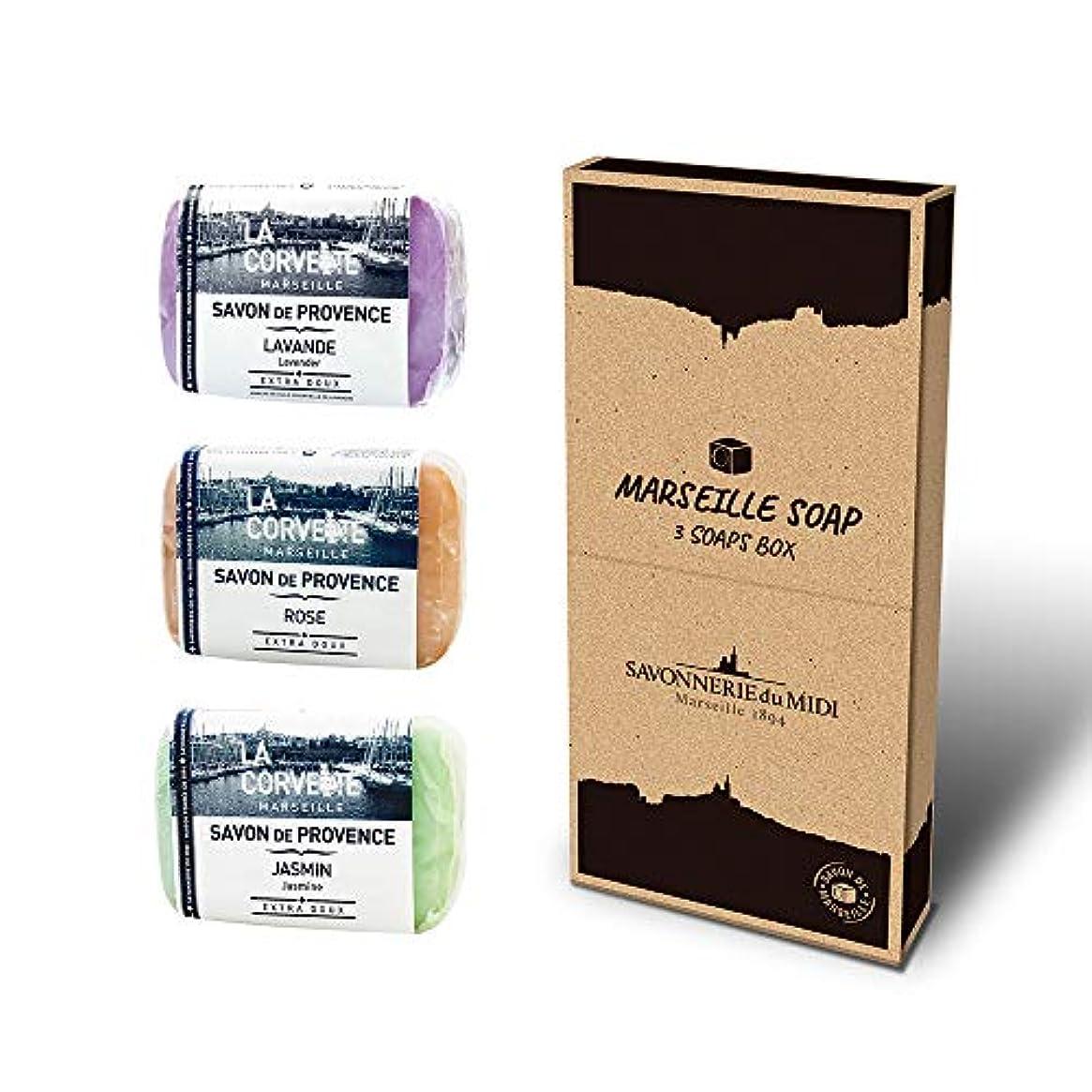 答え葉を拾う繊維マルセイユソープ 3Soaps BOX フローラル