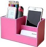 ペン立て オーガナイザー 卓上収納 ボックス レザー silvercoral ( ピンク )