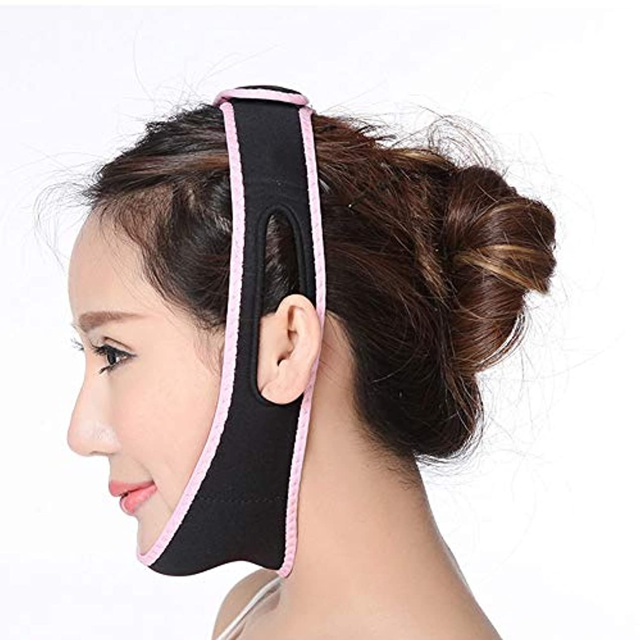 ページ偏心吐き出すJia Jia- フェイスリフティングアーティファクト3D薄型フェイス付き薄型シンフェイスマスク小型Vフェイス包帯二重あごフェイスリフティングデバイスリフティングファーミング - ブラック 顔面包帯