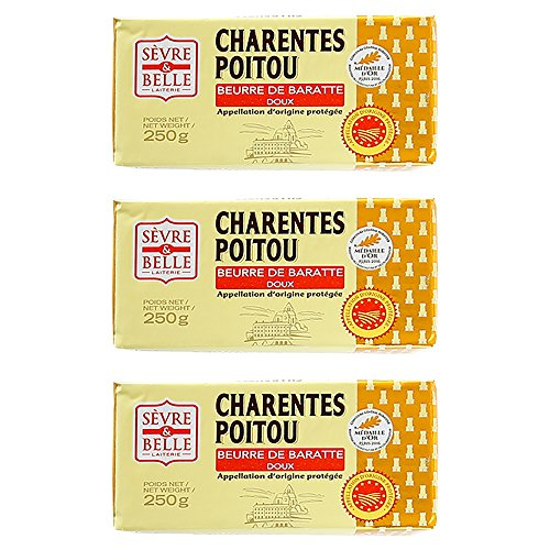 A.O.P認定 セーブル社製 シャラン ポワトゥ 無塩バター【250g×3個】フランス産