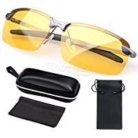 Women Sunglasses HD Polarized Lady Anti Glare Night Driving Glasses Yellow Lens Dark Grey Frame Glasses Se