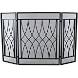 3 Panel Wrought Iron Fireplace Screen Outdoor Metal Decorative Mesh Cover Solid Baby Safe Proof Fire Place Fence Leaf Design Steel Spark Guard for Fireplace Panels Accessories