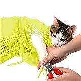 MKUTO 猫用 みのむし袋 おちつくネット シャンプー お風呂 爪切り 耳掃除 グルーミング 暴れない (イエロー)