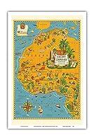 北アフリカの地図 - フランス連合 - クレディリヨン銀行 - ヴィンテージマップ によって作成された ルシアン・ブーシェ c.1939 - アートポスター - 31cm x 46cm