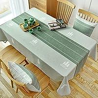 コットンリネン長方形 テーブル クロス,防水洗い可能 テーブルカバー な テーブル プロテクター パーティーホリデーディナーウェディング-薄緑 90x140cm(35x55inch)