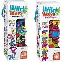 Wild Waysスタッキング木製動物:セットof 2