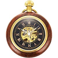ManChDa Roman Copper Wooden Steampunk Mechanical Skeleton Pocket Watch With Chain Gift Box