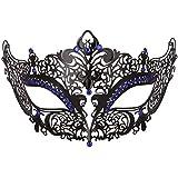ダンスマスク 高級金属鉄マスク女性美少女中空ハーフフェイスファッションナイトクラブパーティー仮面舞踏会マスク ホリデーパーティー用品 (色 : 青, サイズ : 19x8cm)
