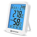 Bodyguard デジタル 温湿度計 室内 時計 最高最低温湿度表示 タッチスクリーン カレンダー機能付き マグネット付 置掛兼用 ホワイト