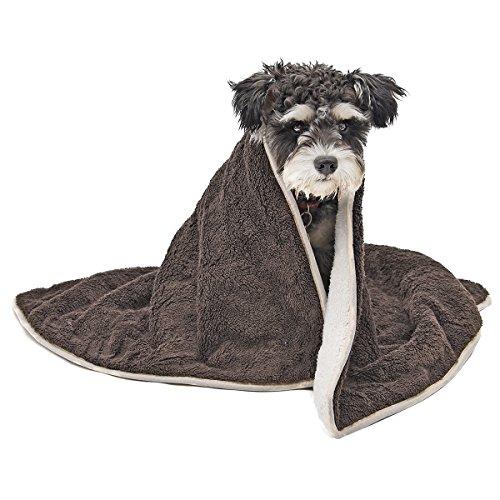 PAWZ Road ふわふわブランケット 犬猫ペット用 毛布 マット 日常用寒さ対応 単色簡約風 コーヒー 104×78 cm