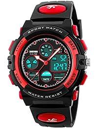 BesWlzボーイズビューマルチファンクションデュアルタイムデジタル時計スポーツスポーツ防水キッズウォッチ (レッド)