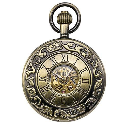 TREEWETO クラシック ローマ数字 機械式 懐中時計 ペンダント チェーン付き ブロンズ