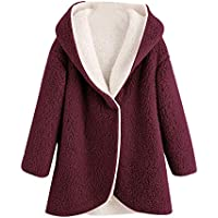 Ausexyy Women's Overcoat Girls Winter Warm Artificial Wool Open Front Cardigan Coat Jacket Hooded Outerwear