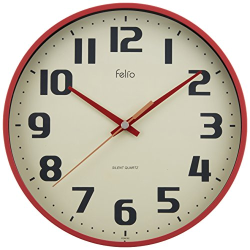 Felio(フェリオ) 壁掛け時計 チュロス アナログ表示 連続秒針 レッド FEW182R-Z