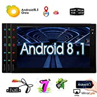 Upgraded Android 8.1 2G RAM 32G ROM 7 Inch Touchscreen in Dash Double Din Car Stereo System GPS Navigation WiFi Bluetooth Handsfree Radio Headunit with Free Rear Camera support optional OBD2/3G/4G/DVR/DAB+