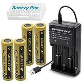 4本 18650 電池 3200mAh 高容量 3.7V フラットヘッド充電池 USB電池充電器 卓上 扇風機 携帯扇風機 交換電池 Gracetop GT18650PP