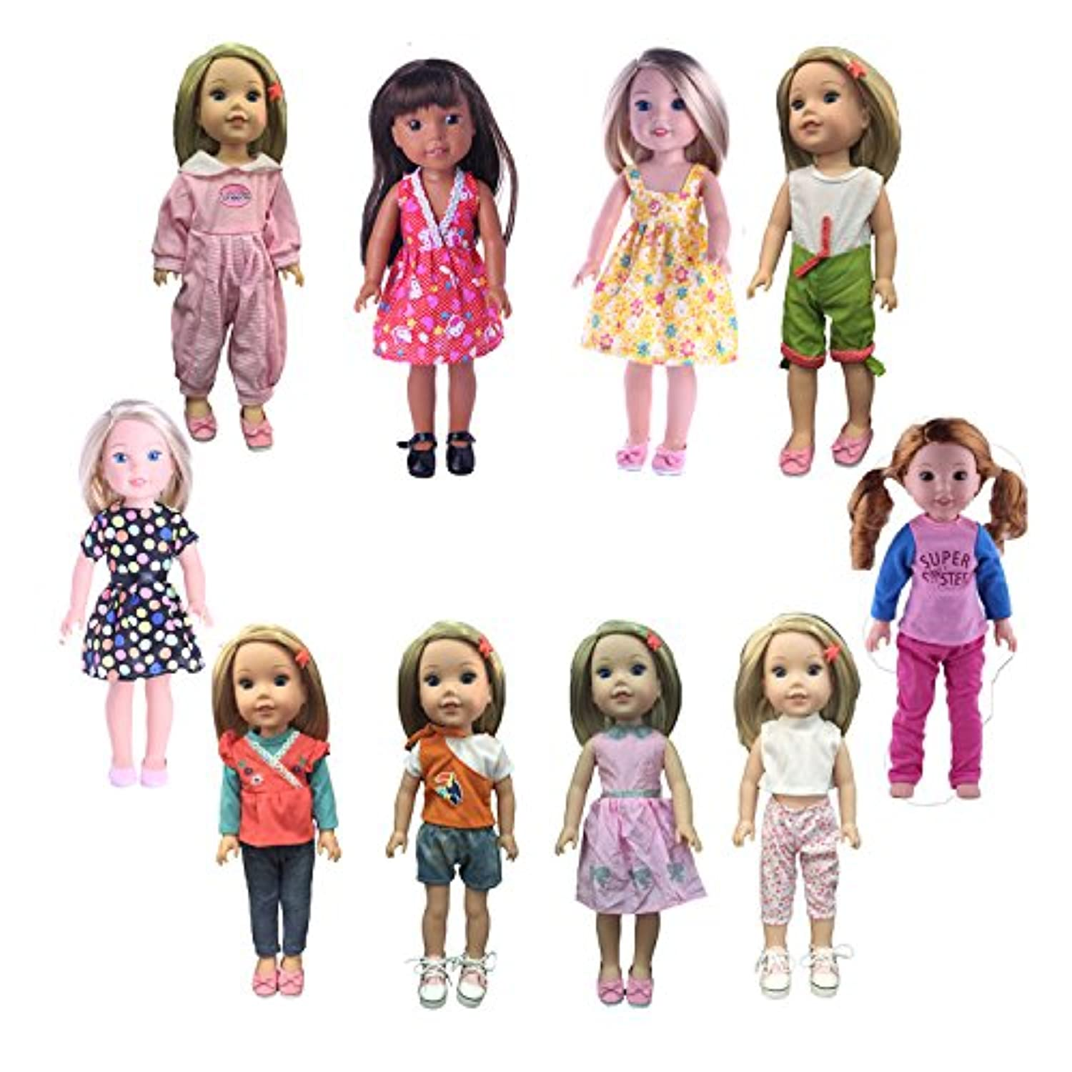 Luckdoll 5pcs Clothes Fits 14 inch American Girl Doll such as Wellie Wisher