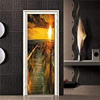 swsongxビーチホリデー3dドアステッカー自己接着防水リムーバブル壁紙diy家の装飾デカール用リビングルーム寝室77 * 200センチ77×200センチDM070