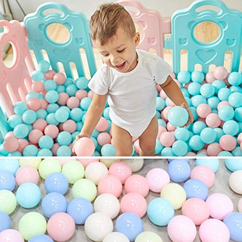 Mazhashop 100個 5.5cm カラフルボール 楽しいボール ソフトプラスチック マカロン オーシャンボール 赤ちゃん 子供 おもちゃ スイムピット玩具 (ブルー、グリーン、ピンク)