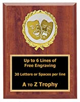 Drama Plaque Awards 7 x 9木製Theatre Trophies Acting Trophy Free Engraving