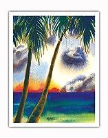 空中に音楽があります - ハワイアンサンセット - オリジナルハワイ水彩画から によって作成された ペギー チュン - アートポスター - 28cm x 36cm