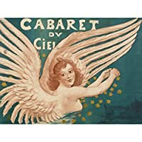 Willette Cabaret Ciel Heaven Angel Vintage Show Advert Extra Large Wall Art Print Premium Canvas Mural ビンテージショー広告壁
