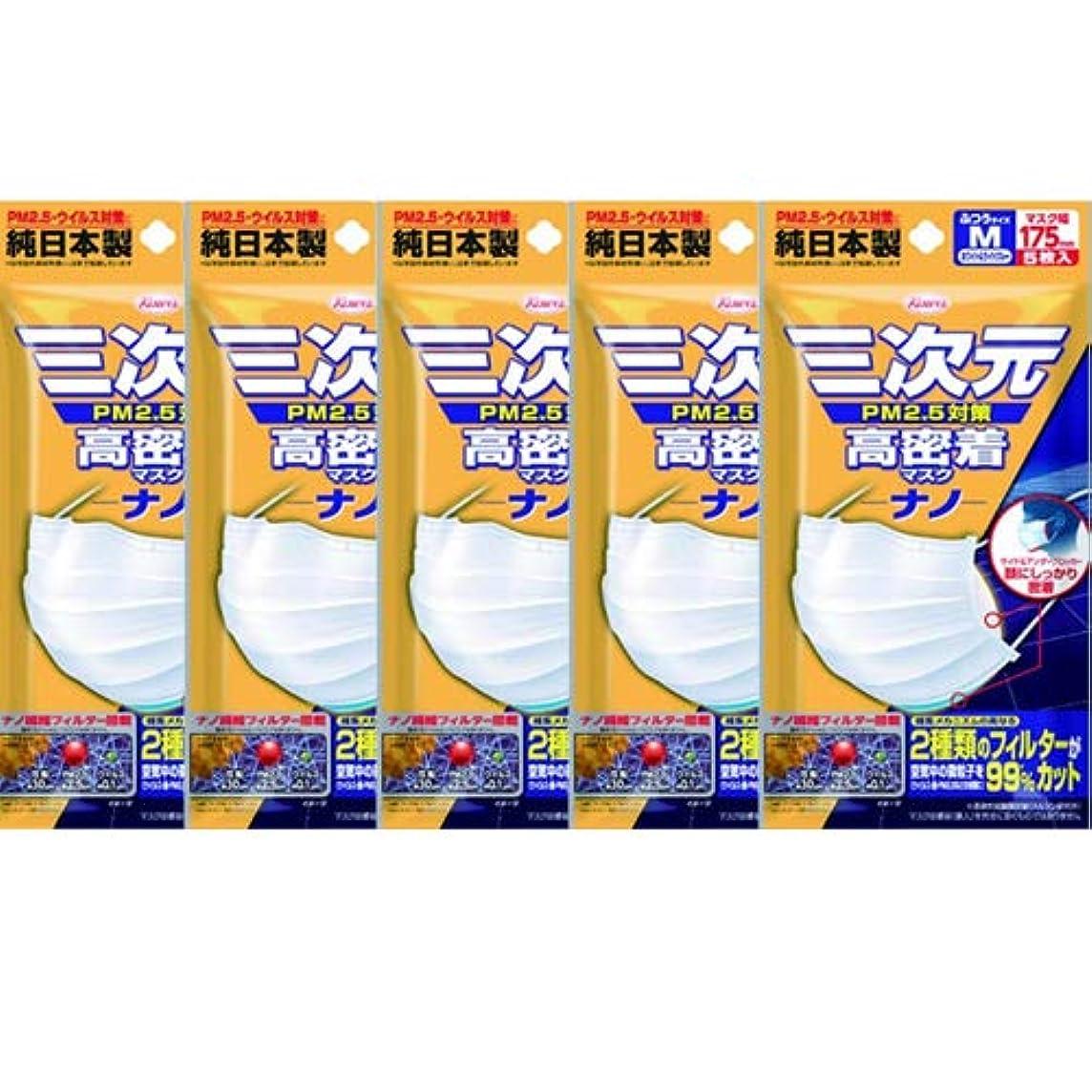 迫害する展望台別に(興和新薬)三次元 高密着マスク ナノ ふつう Mサイズ 5枚入(お買い得5個セット)