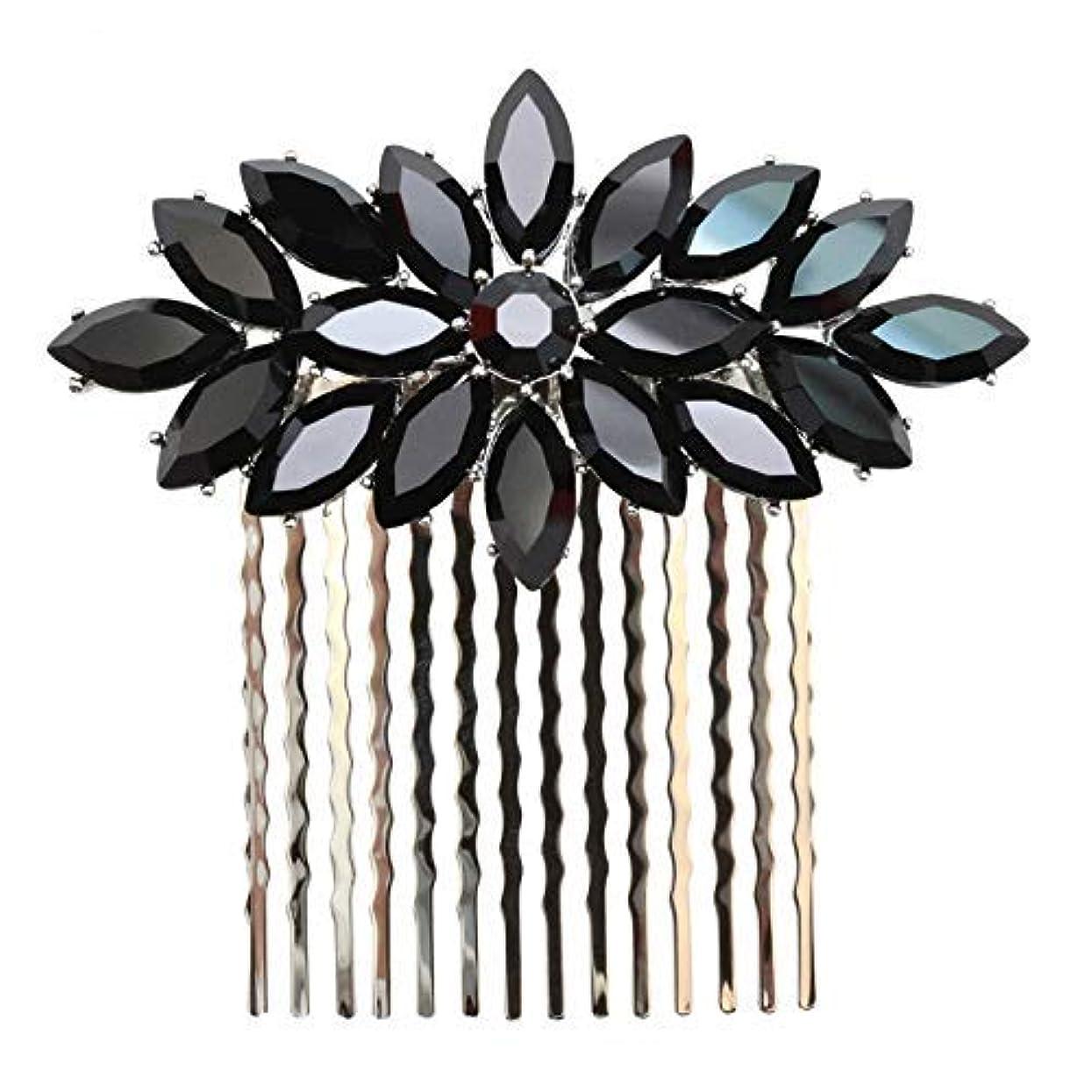 解読する起きろしないFaship Black Rhinestone Crystal Floral Hair Comb [並行輸入品]