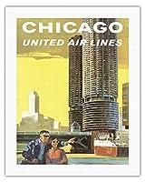 アメリカ、シカゴ - マリーナシティ、シカゴ川 - ユナイテッドエアラインズ - ビンテージな航空会社のポスター によって作成された トム・ホイン c.1965 - キャンバスアート - 51cm x 66cm キャンバスアート(ロール)