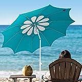AMMSUN 2.1m Outdoor Patio Beach Umbrella Sun Shelter Hollow Pattern with Tilt Air Vent Carry Bag Teal /white
