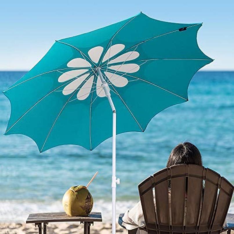 愚か足生産的Ammsun 2017 10 Panels 7ft Polyester Fabric Heavy Duty Beach Umbrella, Adjustable Height, Hollow Pattern with Tilt UPF 50+ Teal /white