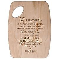 """Personalizedチェリーカッティングボードカスタマイズされた愛は患者愛は親切Faith Hope Love 6"""" W x 9"""" Hの結婚記念日新築祝いギフトのアイデアカップル彼、彼女、または特別な日に覚え"""