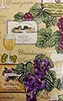 (150cm Round, Grape Wine) - Tuscan Themed Vinyl Flannel BackTablecloths - Wine and Grapes (150cm Round)
