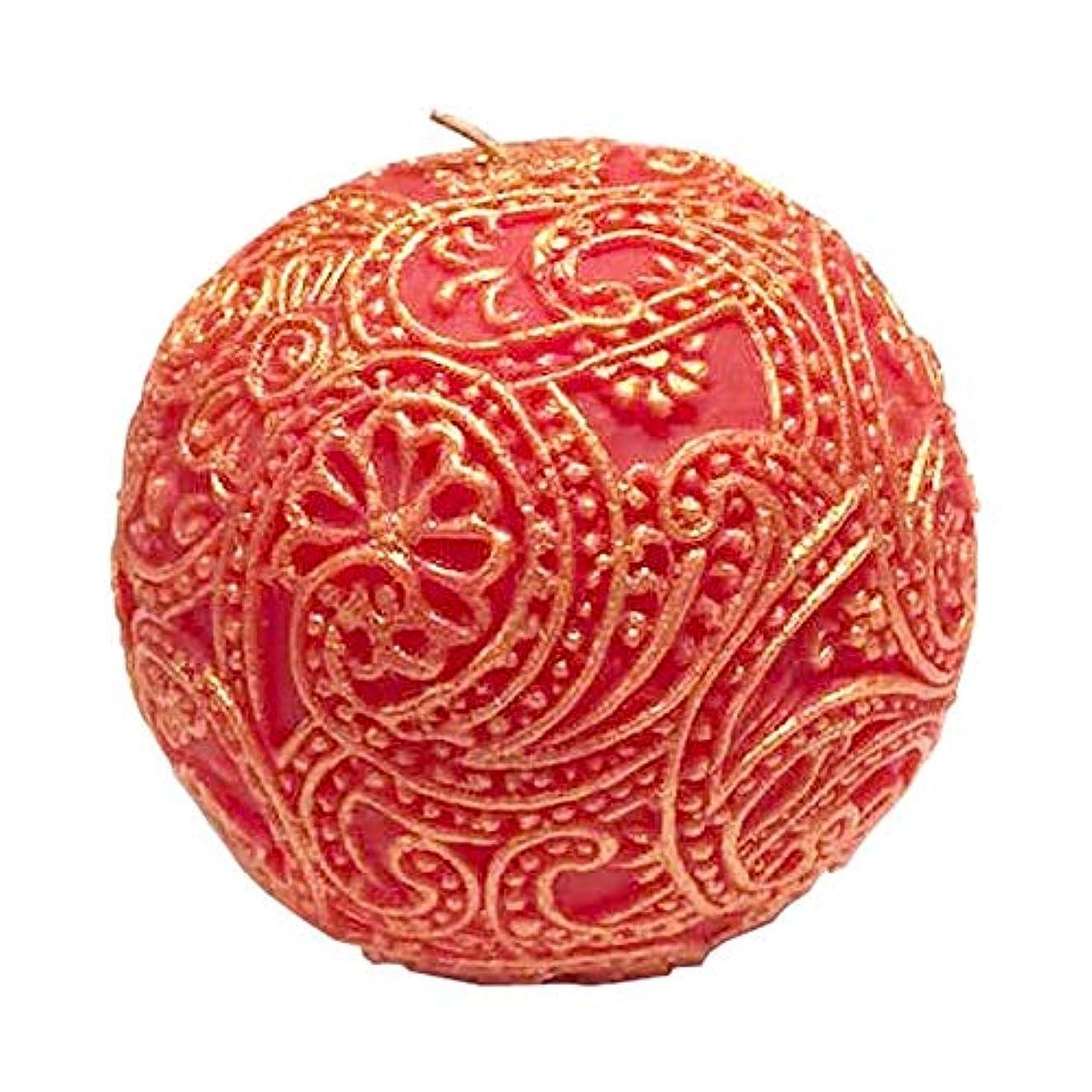 エンドテーブル欠点植物のペイズリー Globular (Red×Gold)