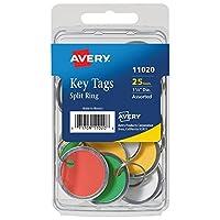 Avery Paper Key Tags Metal Rim Split Ring Assorted Colors 1-1/4 Diameter Pack of 25 (11020) [並行輸入品]
