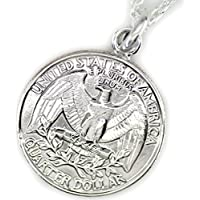 石輝 25セント アメリカ コイン ネックレス ジョージ・ワシントン イーグル USA 硬貨 [722aln]
