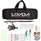 Lixada Fishing Rod Reel Combo Telescopic Fishing Rod Spinning Reel Fishing Line Lures Hooks Swivels Saltwater Freshwater Travel Fishing Accessories Kit