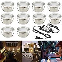 低電圧LEDデッキ照明キット ステンレススチール 防水 屋外 風景 庭 庭 パティオ ステップ 装飾 ランプ LED 埋め込みライト 10pcs USB0909