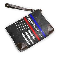RIRIBOC 小物入れPolice & Firefighter & EMT Flag フラットポーチ トラベルポーチ バッグインバッグ 本革 レザー 小物 化粧 ブランド 人気 メンズ レディースOne Size